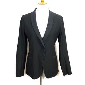 Eileen Fisher Black Blazer Mesh Collar Petite Sm